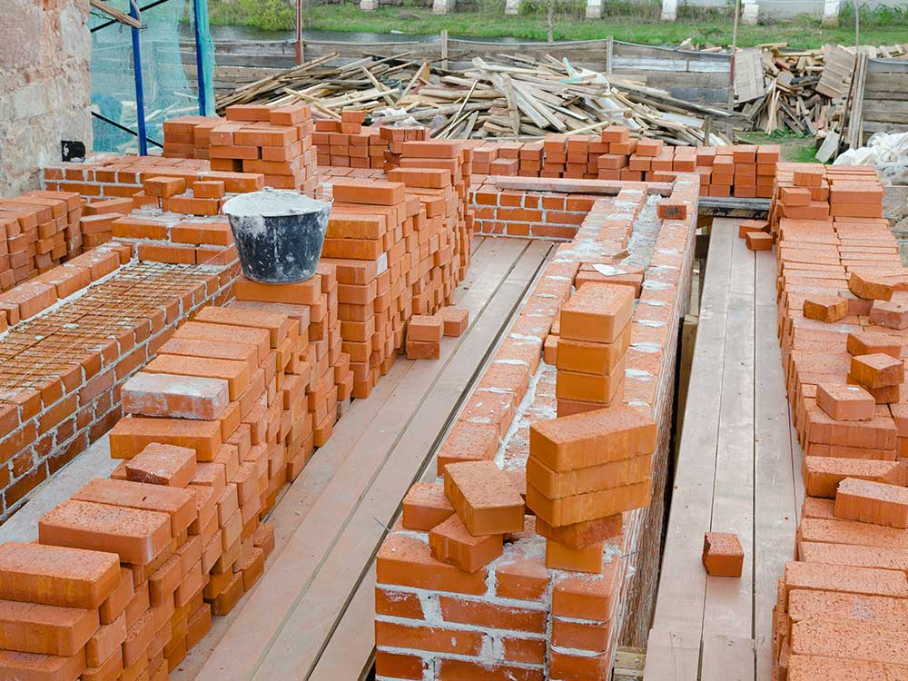 Bricks lined up at a site