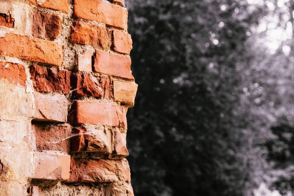 Brick wall against dark backround